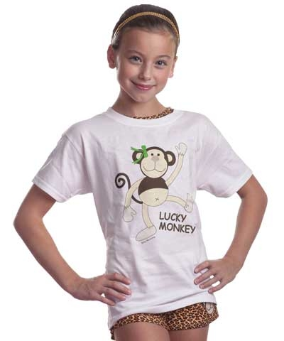 Girl's Lucky Monkey Tee FREE SHIPPING