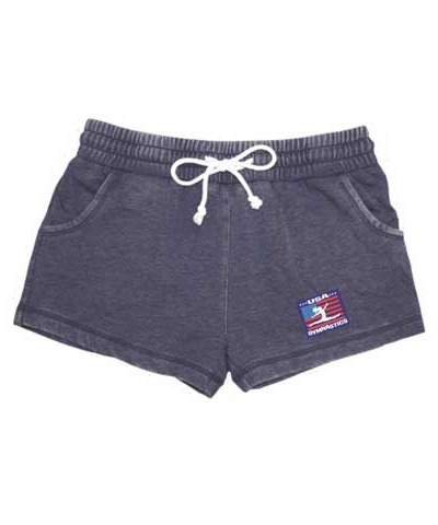 USA Gymnastics Navy Rally Fleece Shorts FREE SHIPPING