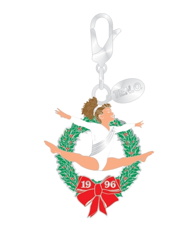 Straddle Jump Wreath Silvertone Charm