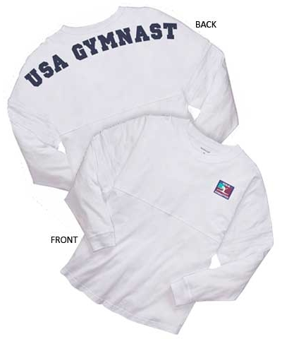 "Womens ""USA Gymnast"" White Billboard Crew Shirt"