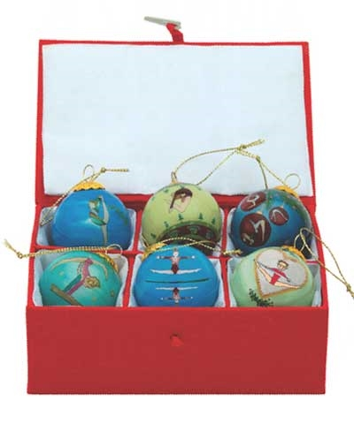 Gymnastic Skills Retro Mini Christmas Ball Set of 6