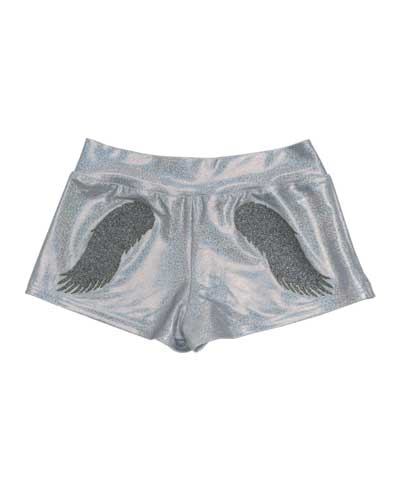 Silver Sparkle Angel Wings Shorts FREE SHIPPING