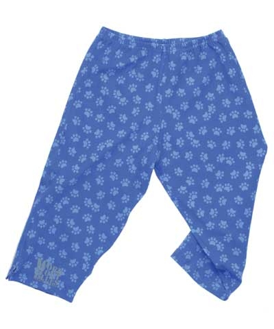 Workout Blues Puppy Paws Cotton Lycra Capri Pants FREE SHIPPING