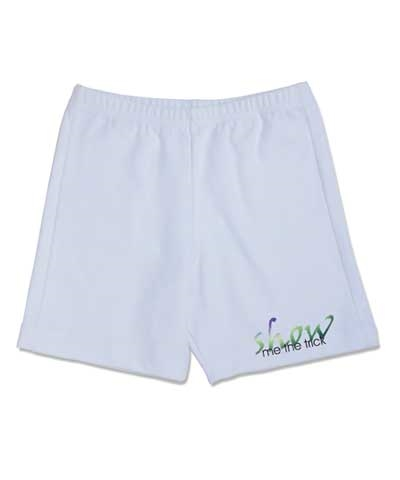 Show Me The Trick White Cotton Lycra Workout Shorts