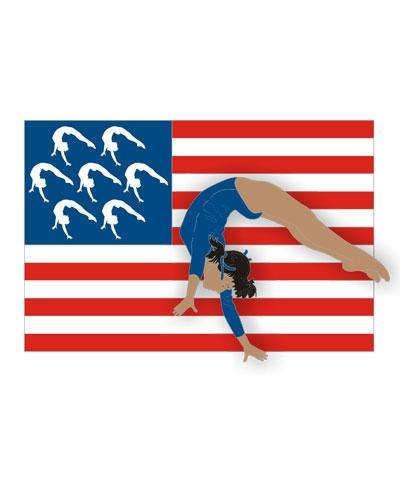 Dark-Skinned Female USA Flag Pin