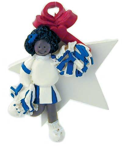 "Dark-Skinned Cheerleader ""A Star Is Born"" Ornament"