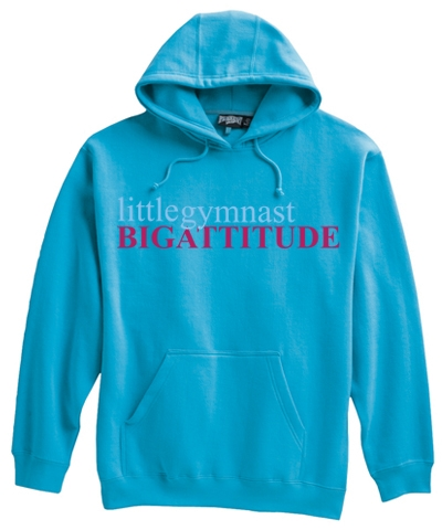 Adult little gymnast BIG ATTITUDE Hoody-Bahama Blue FREE SHIPPING