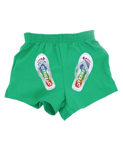 Gymnast Flip Flop Shorts-Green