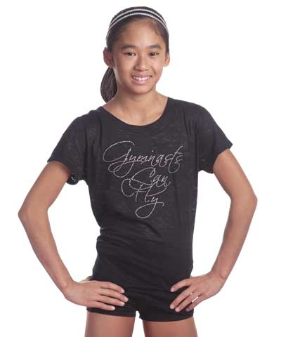 Rhinestone Gymnast Can Fly Burnout Tee FREE SHIPPING