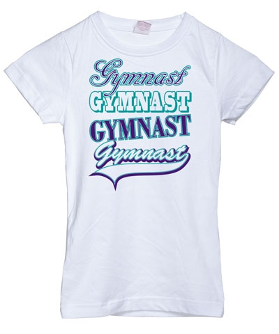 White Gymnast Gymnast Girly Tee FREE SHIPPING