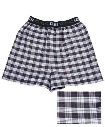 Black, Red, White Plaid Boxer Shorts
