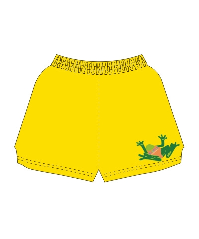 Too Tired To Flip Froggy Shorts-Yellow