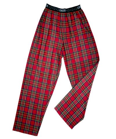 Adult Flannel Cheer Jammies Red Plaid FREE SHIPPING
