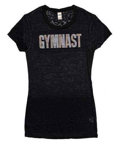 Gymnast Sequins Burnout Tee-Black FREE SHIPPING