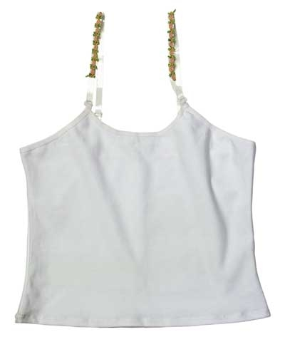 White Camisole Top with Stretchy Straps FREE SHIPPING