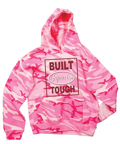 Adult Camo Built Gymnast Tough Hoody Tee-Pink