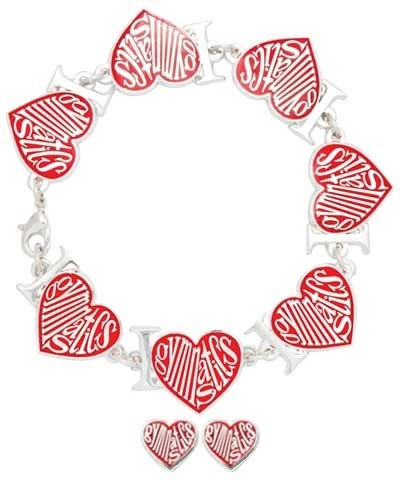 Red Love Heart Gymnastics Bracelet & Earrings