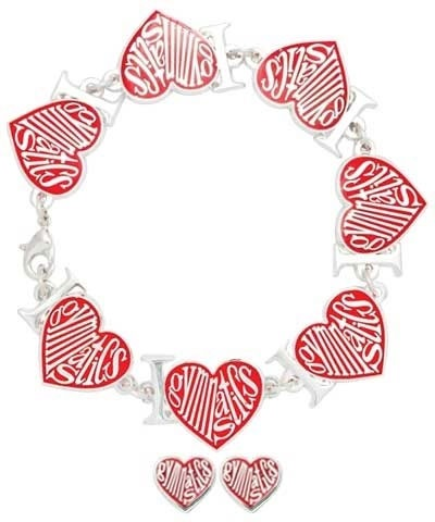 Red Love Heart Gymnastics Bracelet & Earrings FREE SHIPPING
