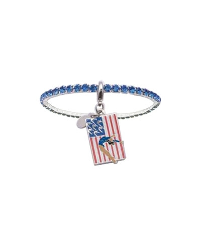 Royal Blue Rhinestone Bracelet with Dark Skinned Handspring Flag Charm