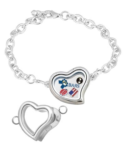 Floating Heart Silver Locket Bracelet