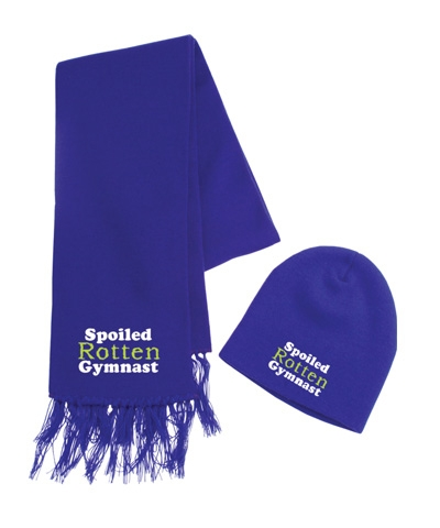 Spoiled Rotten Gymnast Purple Beanie & Scarf Set