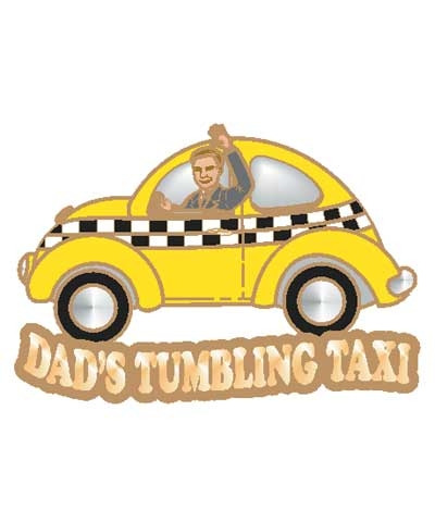 Dad's Tumbling Taxi Pin