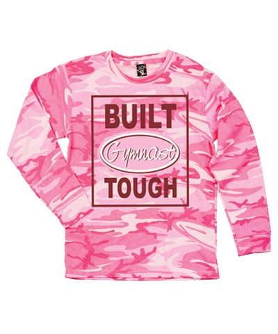 Pink Camo Built Gymnast Tough Long Sleeve Tee FREE SHIPPING
