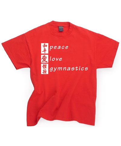 Red Peace Love Gymnastics Tee