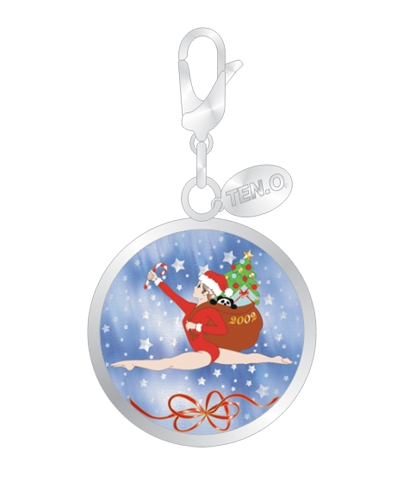 Santa Gymnast Split Leap Ball Charm