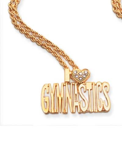 I Love Gymnastics Chain & Charm