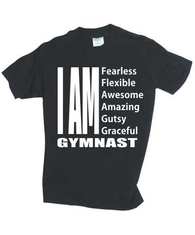 """I Am Fearless Gymnast"" Black TeeN FREE SHIPPING"