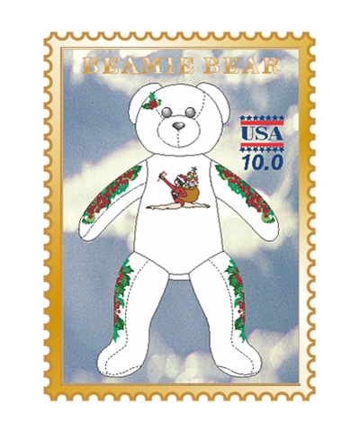 Christmas Beamie Bear Pin FREE SHIPPING