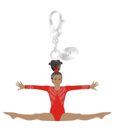 Gym Charm - Dark-Skinned Straddle Leap