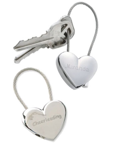 Personalized Cheer Heart Key Chain