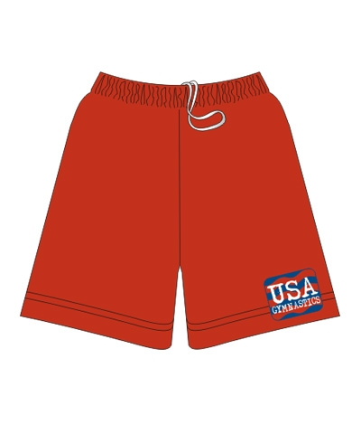 USA Gymnastics Boys Workout Short-Red FREE SHIPPING