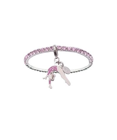 Pink Rhinestone Bracelet with Back Handspring Charm