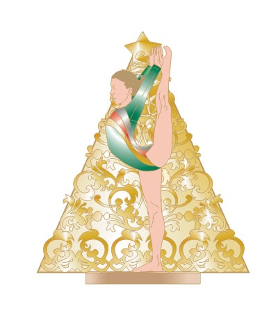 Gold Tree Gymnast Pin