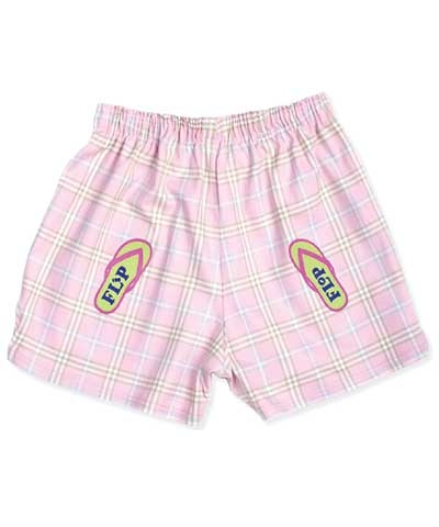 Pink Flip Flop Plaid V-notch Shorts