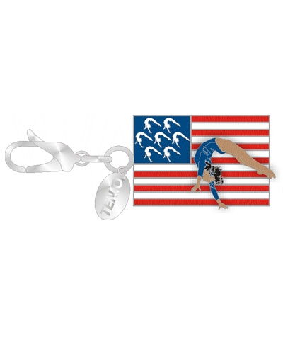 Gym Charm - USA Flag (Dark-Skinned Gymnast)