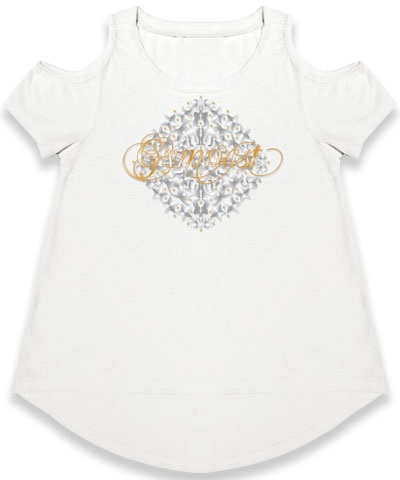 Medallion White Cold Shoulder Tee
