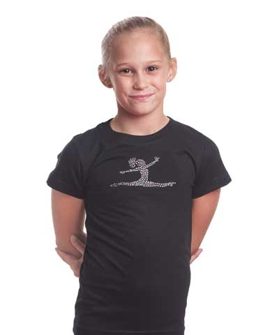 Rhinestone Split Leap Girly Tee FREE SHIPPING
