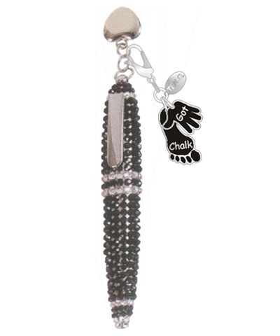 Black Rhinestone Ink Pen with Got Chalk Charm