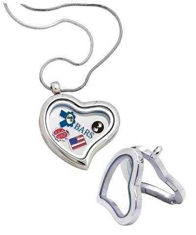 Floating Heart Silver Locket Necklace