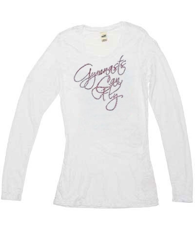 Fuchsia Gymnast Can Fly White Long Sleeve Burnout Tee