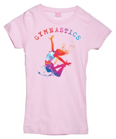 Pink Gymnastics Splash Girly Tee