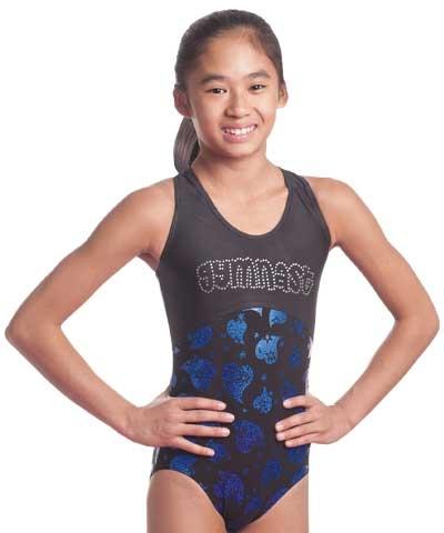 Rhinestone Gymnast Liquid Hearts Leo