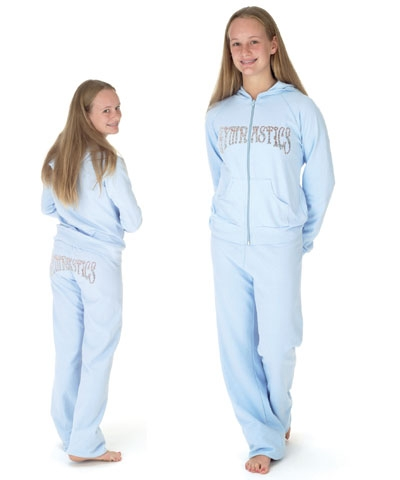 Gymnastics Baby Blue Fleece Hoodie FREE SHIPPING