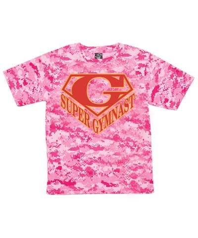 Pink Camo Red Super Gymnast Tee FREE SHIPPING