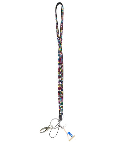 Multi Colored Rhinestone Lanyard with Walk Over Charm