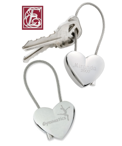 Personalized Gymnastics Heart Key Chain